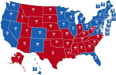Der Kutter: Electoral Vote Predictions (click to enlarge)