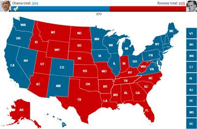 US-Wahlprognose 2012: Wieviele Wahlmänner gehen an Obama und Romney?
