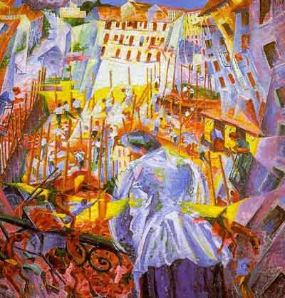 Umberto Boccioni, Der Lärm der Straße dringt ins Haus. 1991. Öl auf Leinwand, 70x75 cm, Sprengel-Museum Hannover
