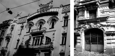 Alberta iela in Riga. Jugendstil-Häuser von Mikhail Eisenstein.
