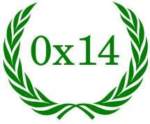 Die Zahl 0x14 (hexadezimal für 20) in einem grünen Lorbeerkranz