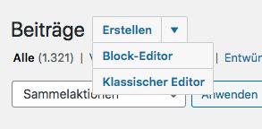 Auswahl des Classic Editors bei wordpress.com im Jahr 2020