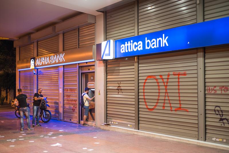 Aufruf der OXI-Anhänger an einer Bankfiliale