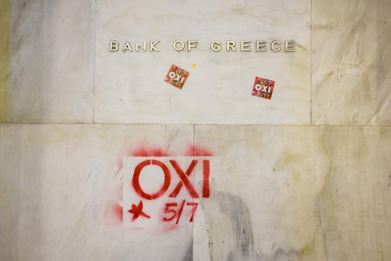 Aufruf der OXI-Anhänger auf der Nationalbank