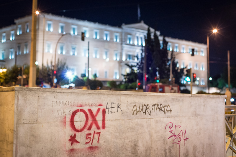 Aufruf der OXI-Anhänger vorm Parlament