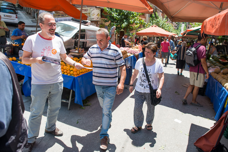 Wahlkampf am Markt in Exarchia