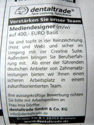 400 euro 1 tach arbeit im ganzen monat