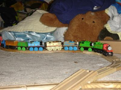 Some of the boys' collection of toy trains