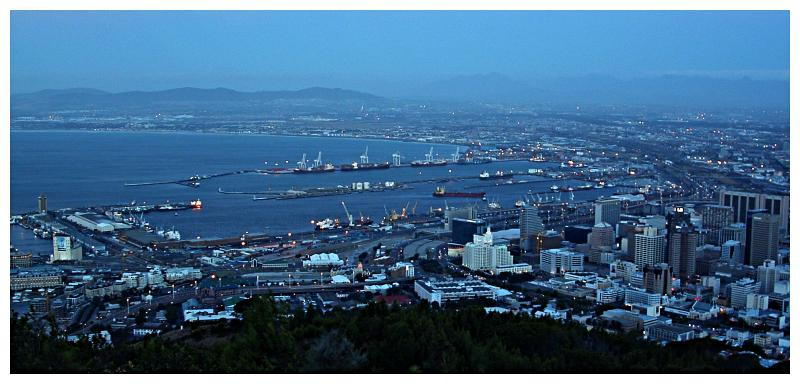 A dusk view of Cape Town taken from Signal Hill.