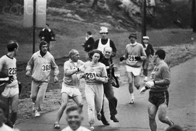Kathy Switzer illegally enters the Boston Marathon