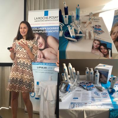 Dr. Verena Beck, Hautärztin bei einem Vortrag im Auftrag von Laroche Posay