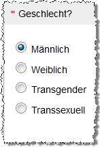 Auswahl Geschlecht Wikipedia-Umfrage