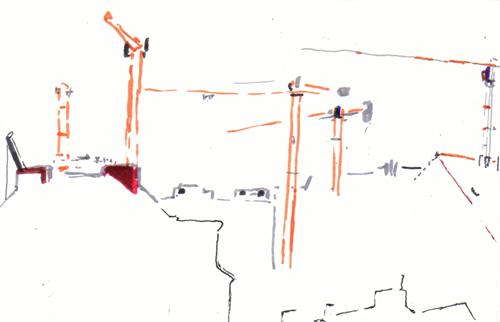 Kräne (einer im Aufbau)