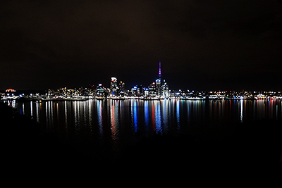 Downtown from Stanley Point - Auckland - New Zealand - 9 April 2014 - 22:34