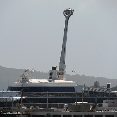 Viewing capsule on top of cruise ship - Waitemata Harbour - Auckland - New Zealand - 2 December 2018 - 10:21