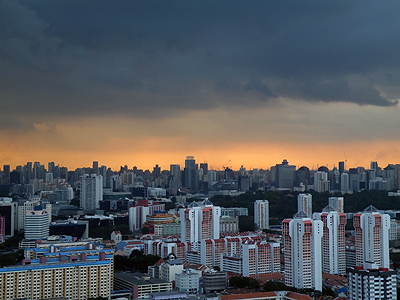 Looking west from Lavender - Singapore - 28 January 2009 - 19:24
