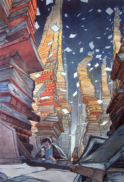 © Francois Schuiten: Der Archivar in der Großen Bibliothek