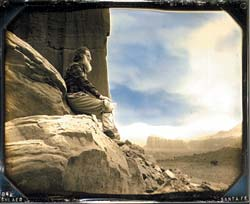 "Robert Shlaer (b. 1942), Self-Portrait, Cathedral Valley, Capitol Reef National Park, 1994–98, Daguerreotype, © 4"" x 5"" Daguerreotype by Robert Shlaer"
