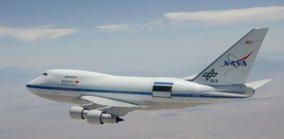 The flying SOFIA platform with open backdoor to watch the night sky. Image (c) Nasa