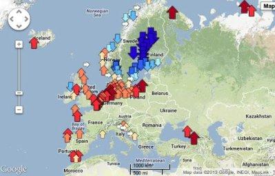 Zum Bild: Meeresspiegelvariation zw. 1960 und 2010. Orange: +1mm/Jahr; tiefrot +4mm/Jahr; tiefblau: Pegelfall -4mm/Jahr (c) PSMSL.org