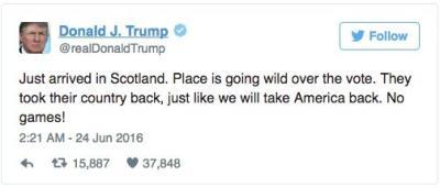 Donald Trump's Ridiculous Brexit Tweet