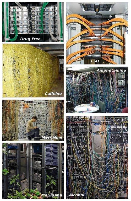Serverräume unter Drogen kabeln