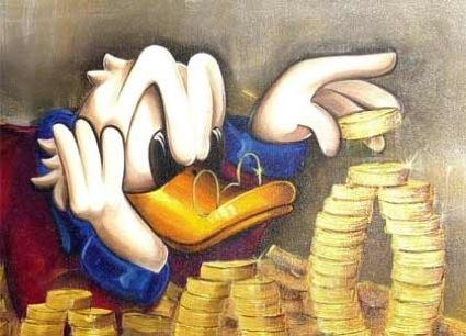 Musterkapitalist Uncle Scrooge mit einem Teil seiner fantastillionen