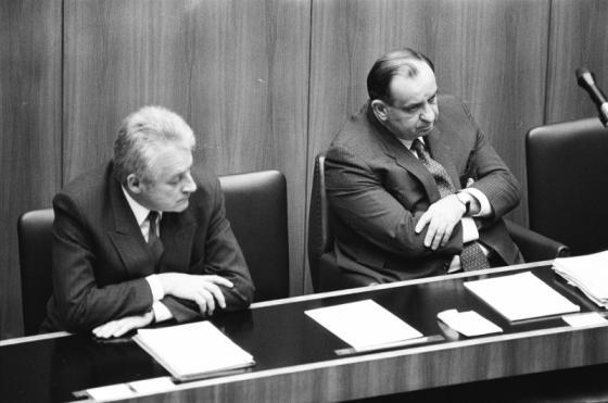 Außenminister Gratz und Bundskanzler Sinowatz
