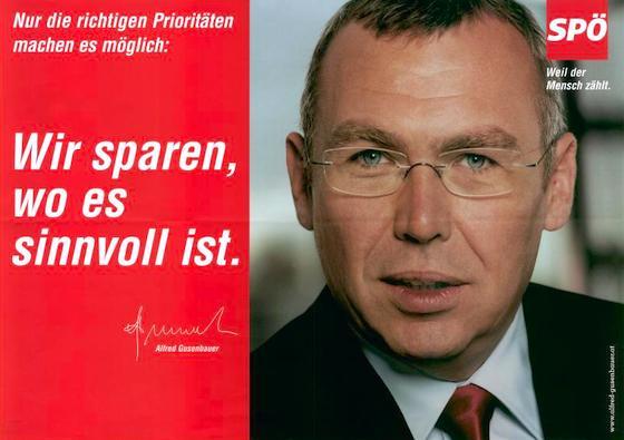 Zukünftiger Bundeskanzler Gusenbauer im Wahlkampf