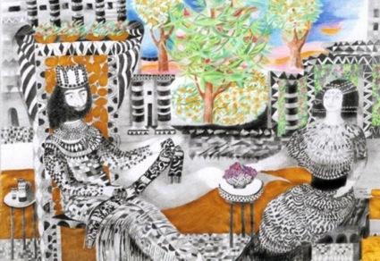 Gertrude Köhler: König Salomo mit seiner Gemahlin im Park, Farbstifte, 108*79
