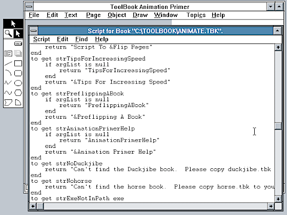 Script Window in Asymetrix Toolbook 1.53