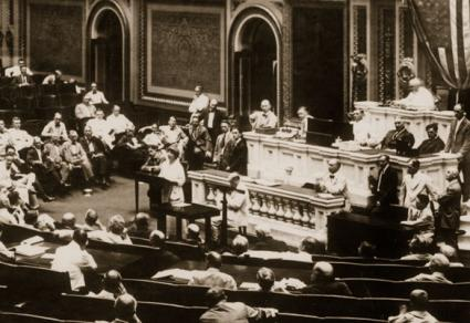 Jeannette Rankin of Montana, a suffragist and peace activist, and the first woman to serve in Congress, delivers her first full speech on the House Floor, 1917.
