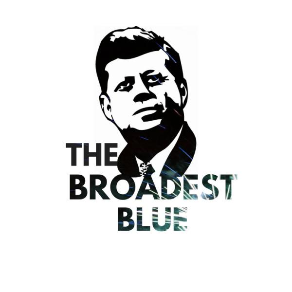 The Broadest Blue logo with JFK's face