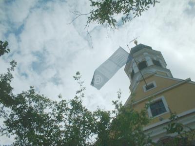 Unesco-Fahne an der Hosterwitzer Kirche