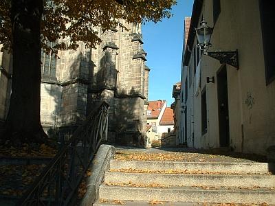 Altenburg, Treppe an der Bartholomäuskirche