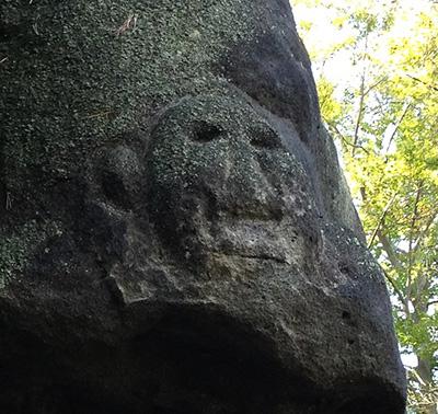 Arnstein, nittelalterliche Felszeichnung: Gesicht