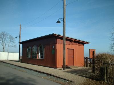 Cunnersdorf, Bahnhof der einstigen Windbergbahn (Possendorfer Heddel)