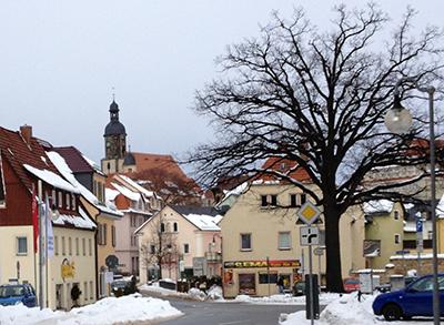 Dippoldiswalde, Freiberger Platz im Winter