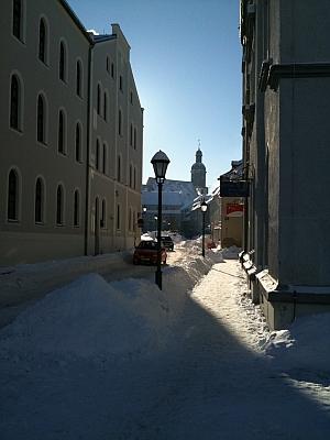 Dippoldiswalde im Winter, viel Schnee
