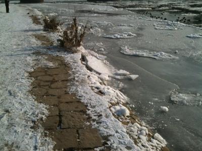 Bomätscherpfad an der Elbe bei Dresden im Winter mit Eisschollen