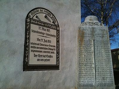 12. Mai 1813 Schreckenstag von Schmiedefeld - Kirche, Gedenktafel und Kriegerdenkmal