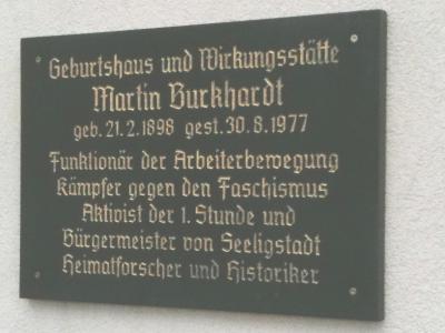 Gedenktafel für den Antifaschisten und Heimatforscher Martin Burckhardt