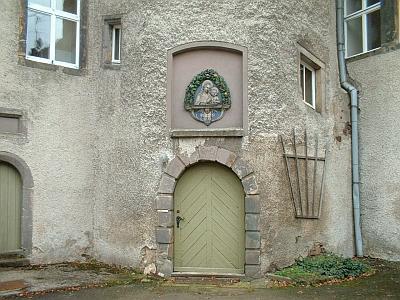 Rothschönberg, Schloss, Innenhof, Marienbild