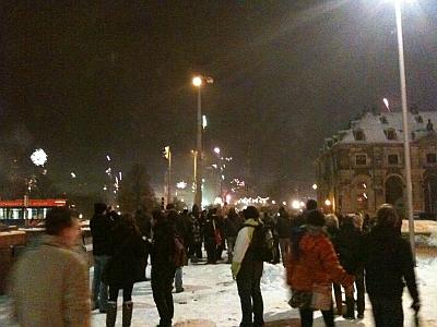 Neujahr an der Augustusbrücke Dresden