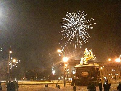 Silvester Feuerwerk am Goldenen Reiter, Dresden