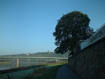 Meißen, Blick vom Elbradweg auf die Neue Brücke und das Schloss Proschwitz